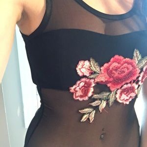 Flower embroidered mesh body suit
